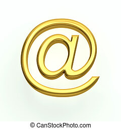 Gold email symbol on a plain white background