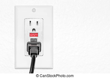 Safety GFCI protected dual electrical outlet, black power...