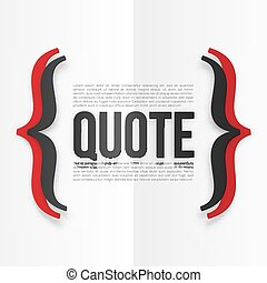 Red and black curly brackets with place for your text at white folded paper background