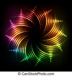 Abstract rainbow neon spirals vector cosmic frame - abstract...