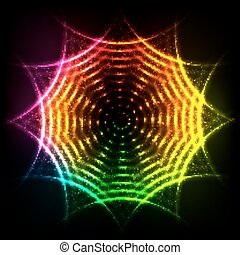 Abstract rainbow neon spirals cosmic circle - abstract...