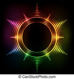 Abstract rainbow neon spirals cosmic star frame - abstract...