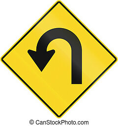 Hairpin Curve In Canada - Canadian road warning sign -...