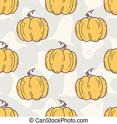 Hand drawn halloween pumpkins seamless pattern with ghosts...