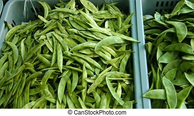 Chinese Snow Peas at Public Market in Asia - Video 1080p -...