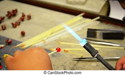 Local Artist Sculpting Glass with Blowtorch - Video 1080p -...