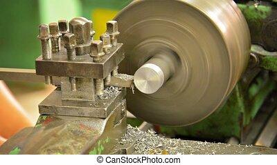 Closeup of a Metal Lathe at Work - Video 1080p - Closeup of...