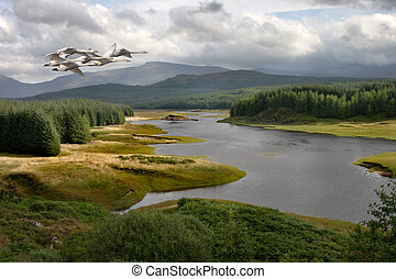 Highland Loch - Whooper Swans fly over a loch in the...