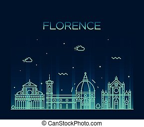Florence skyline silhouette vector linear style - Florence...
