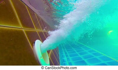 Air Pump Blasting Bubbles in Swimming Pool - 1920x1080 video...