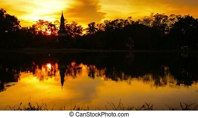 Breathtaking Shot of Sunset over Pond in Thailand - Video...