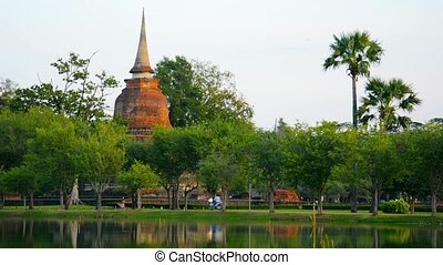 Ancient Buddhist Temple with Trees in Thailand - Video 1080p...