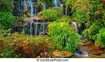 Beautifully Landscaped Waterfall in Chiang Mai, Thailand -...