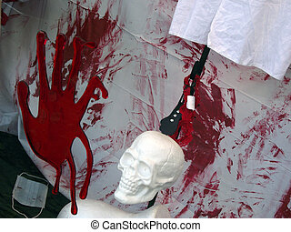 Halloween Gore - A bloody scene set out to decorate the...