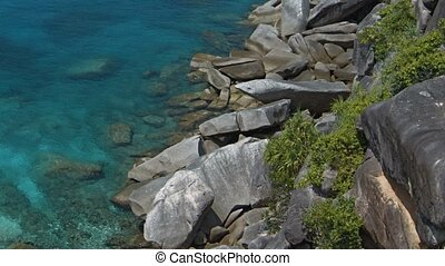 Top view of the bay with shallow water. Warm tropical sea. Thailand, Similans islands