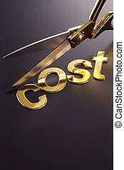 cut cost - word cost next to the scissors