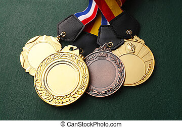 medals - Few medals isolated blackboard