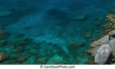 Overlooking Shot of a Bay at one of Thailands Similan...