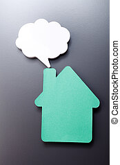 house and speech bubble - speech bubble and a paper cut...