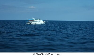 Tour Boat Cruising in the Andaman Sea off Phuket, Thailand -...