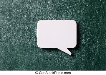 speech bubble on the blackboard