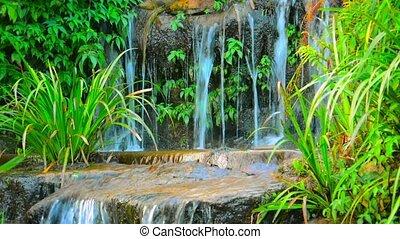 Water Cascading over an Artificial Garden Waterfall - Video...