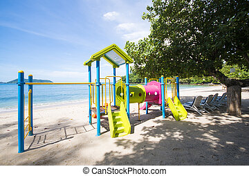 colorful playground on the beach
