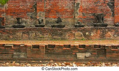 Tourist Visiting an Ancient Temple Ruin in Ayutthaya, Thailand