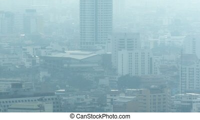 Modern city in smog. The problem of ecology - Video 1080p -...