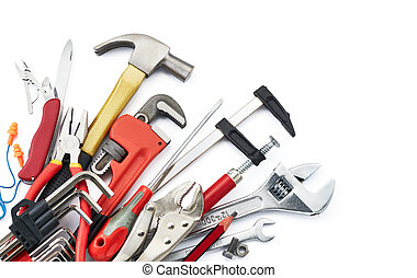 work tools - various type of tools on white background with...