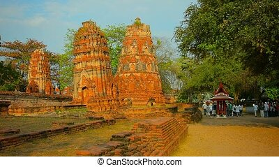 Ancient Stone Stupas near an entrance to Ayutthaya...