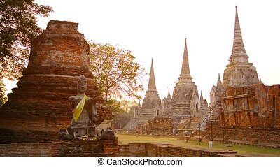 Tourists, Strolling amongst the Ancient Stupas at Ayutthaya...