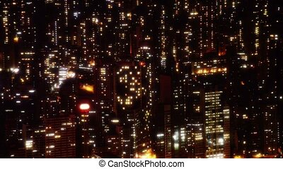 Beautiful, Nighttime Cityscape with Brilliantly Lit Highrise...