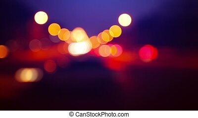 Blurred Traffic lights of the big city - 1080p video -...