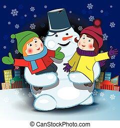 Snowman and Children
