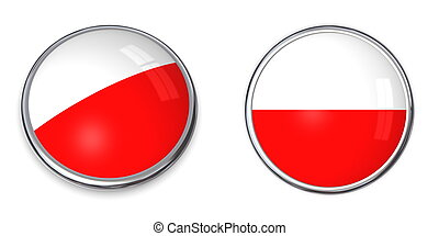 Banner Button Poland - button style banner in 3D of Poland