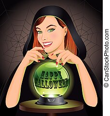 Halloween background with witch - Happy Halloween background...