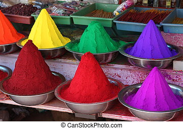 Paint colors - Vibrant paint colors on a paint market in...