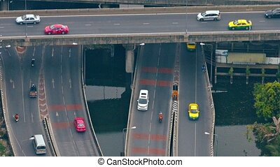 Layers of Criss-Crossing Highway Overpasses and Bridges in...
