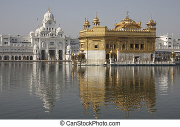 Golden temple in Amritsar, Punjab province, India at sunset...