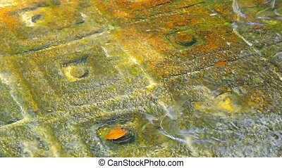 Ancient symbols carved on surface of rock at the bottom....