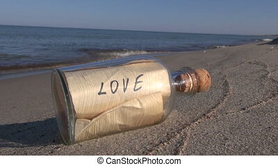 Bottle with message on beach - Seascape with transparent...
