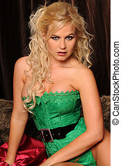 Blonde - Beautiful blonde dressed as a very sexy Santa\'s...