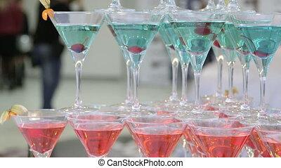 champagne martini glasses at event
