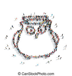 people shape owl cartoon - A group of people in the shapem...