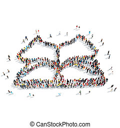 people shape book cartoon - A group of people in the shape...