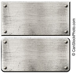 grunge steel metal plates set with rivets isolated - grunge...