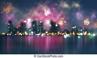 blurred city and fireworks loop - blurred city and fireworks...
