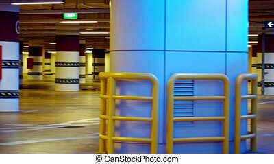 Interior of an Underground Parking Garage - Video 1080p -...