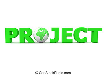 Clip Art of Project World Blue - blue word Project with 3D globe ...